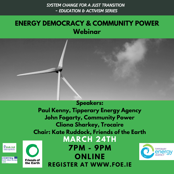 Webinar to focus on Energy Democracy in Local Communities, so everyone has access to Community Power