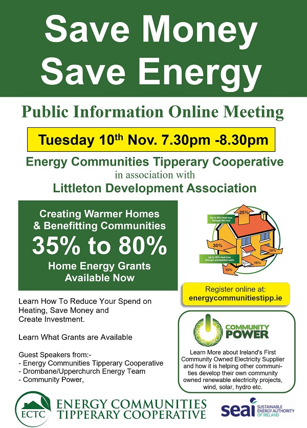 Energy Communities Tipperary Cooperative is a community led, One Stop Shop, home insulation upgrade and retrofitting organisation